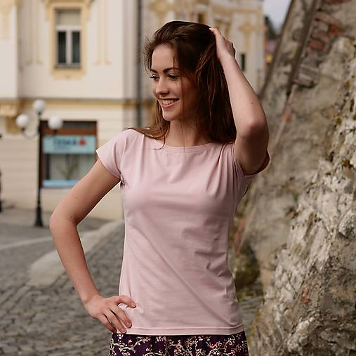 Tričká - Tričko Zoja - Jednobarevka starorůžová - 9770992_