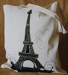 Nákupné tašky - Nákupná taška ľanová s riflovinou-Paris - 9772196_
