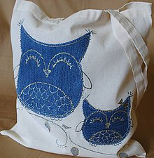 Nákupné tašky - Nákupná taška ľanová s riflovinou-Sovy - 9772228_