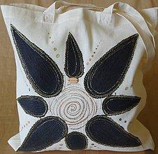 Nákupné tašky - Nákupná  taška ľanova s riflovinou -Slnko - 9772378_