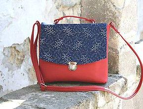 Kabelky - Jenny červená modrotlač 2 - 9772733_