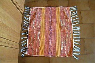 Úžitkový textil - Tkaný koberček žlto-oranžovo-bordový - 9772878_