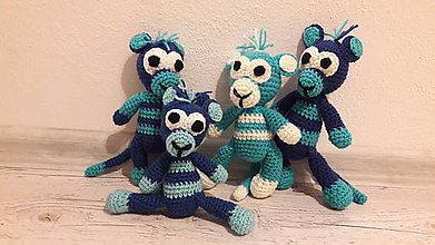 Hračky - opice škorice... :) (cca 19 az 21 cm - Modrá) - 9773576_