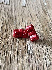 Náušnice - červené mašličky  (biele bodky) - 9772870_