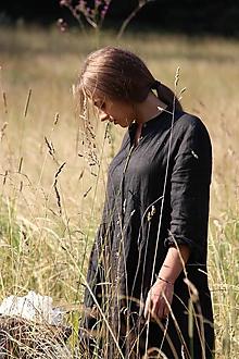 Šaty - Dámske ľanové košeľové šaty (XS - Tyrkysová) - 9775501_