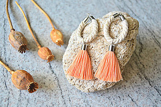 Náušnice - Visací náušnice LIGHT ORANGE TASSEL SILVER ROPE - 9774582_