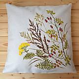 Úžitkový textil - Vankúš-ručne maľovaný-Šípky a jesenné trávy - 9774951_