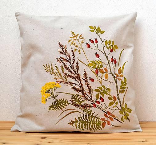 Vankúš-ručne maľovaný-Šípky a jesenné trávy