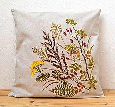 Úžitkový textil - Vankúš-ručne maľovaný-Šípky a jesenné trávy - 9774953_