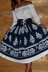 Sukne - Suknica Biely folklór so šnurovačkou - 9773811_