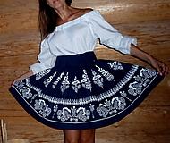 Sukne - Suknica Biely folklór na tmavomodrej - 9773934_