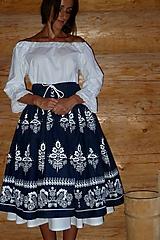 Sukne - Suknica Biely folklór so šnurovačkou - 9774514_