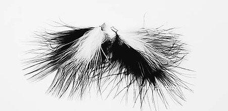 Komponenty - Prívesok Pierko Marabou - 80 mm - čierno biele - 9775248_