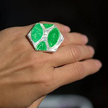 Prstene - Prsteň Strieborný so zelenými lístkami - 9774679_