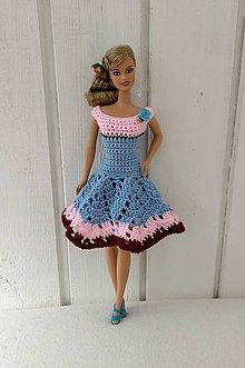 Hračky - Modré háčkované šaty pre Barbie - 9774399_
