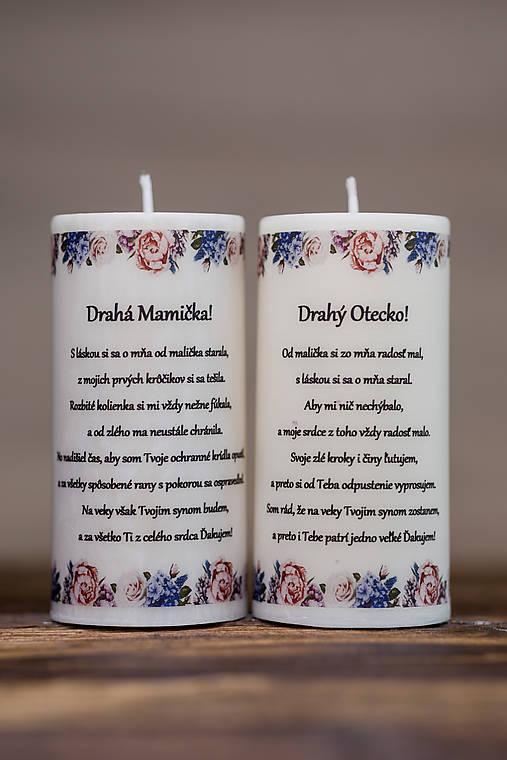 Poďakovanie svadobným rodičom - Vzor č.4 - Sviečka z palmového vosku