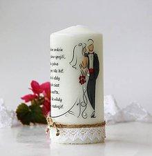 Darčeky pre svadobčanov - Dekoračná sviečka pre mladomanželov (Pestrofarebná) - 9774063_