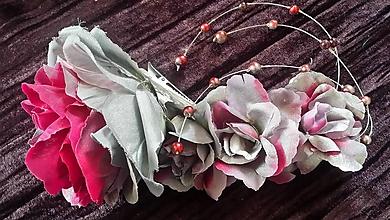Ozdoby do vlasov - Ozdoba do vlasov - ,,Silver-pink rose ,, - 9774287_