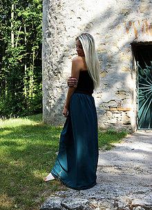 Sukne - MAXI šifónová sukňa tmavozelená - 9775004_