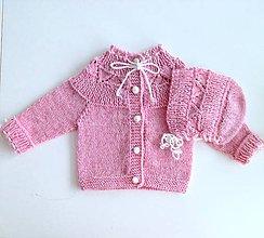 Detské súpravy - Pletený kabátek s čepičkou - bezešvý - 9773800_