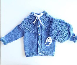 Detské súpravy - Pletený kabátek s čepičkou - bezešvý (Pletený kabátek s čepičkou - bezešvý) - 9773844_