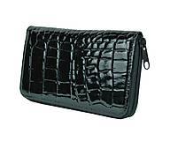 Peňaženky - Dámska kožená peňaženka z čiernej lakovanej kože - 9775506_