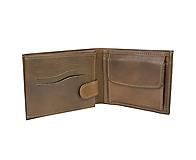 Pánska peňaženka z pravej kože v hnedej farbe, ručne tamponovaná