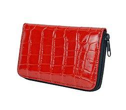 Peňaženky - Dámska kožená peňaženka z červenej lakovanej kože - 9775510_
