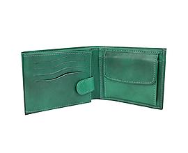 Tašky - Pánska peňaženka z pravej kože v tmavo zelenej farbe, ručne tamponovaná - 9775523_