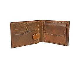 Tašky - Pánska peňaženka z pravej kože v slabo hnedej farbe, ručne tamponovaná - 9775542_