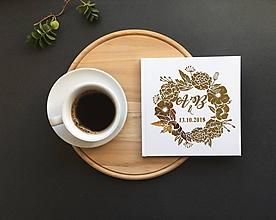 Papiernictvo - Svadobná kniha s vašimi iniciálmi a dátumom- Gold Flowers - 9773919_