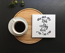 Papiernictvo - Svadobná kniha hostí s modrým nadpisom Náš veľký deň - 9774081_