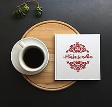 Papiernictvo - Červeno-biela svadobná kniha hostí Folk Naša svadba - 9774128_