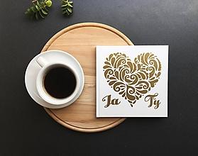 Papiernictvo - Svadobná kniha hostí Gold Heart Ty a ja - 9774135_