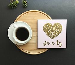 Papiernictvo - Svadobná kniha hostí Heart Geometry (Ružová) - 9774151_