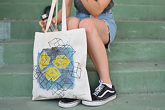 Veľké tašky - Bavlnená taška YELLOW HEART - 9776141_