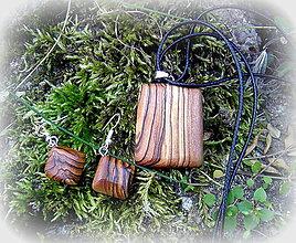 Sady šperkov - oliva- náušnice a prívesok... - 9776739_