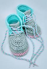 Topánočky - Háčkované topánočky - 9777640_