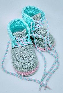 Topánočky - Háčkované topánočky (Modrá) - 9777640_