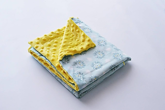Textil - Minky žltá deka s levíkmi na mentolovom 70*100cm - 9778433_