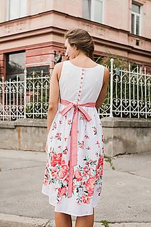 Tehotenské oblečenie - Těhotenské šaty s knoflíčky na zádech Květinové, vel. S - 9776610_
