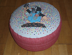 Úžitkový textil - Detský (pod)sedák - puf s obliečkou v dvoch farbách (Červená) - 9778657_