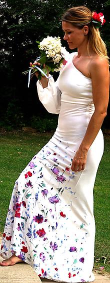 """Šaty - Ručne maľované krásne svadobné šaty """"blossom"""" - 9777948_"""