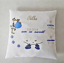 Textil - vankúšik k narodeniu-vyšívaný - 9779006_