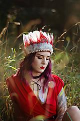 Ozdoby do vlasov - Červená prírodná indiánka - 9776239_