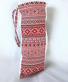 Tehotenské oblečenie - Zásterka a plienočka pre intímne dojčenie Folk Red - 9777749_