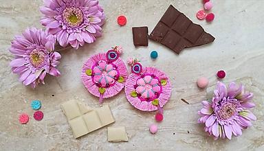 Náušnice - Ružové okrúhle strapcovky - 9777230_
