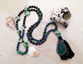 Náhrdelníky - Karibske Boho Mala nahrdelniky (Zeleno čierny s achatom a riecnymi perlami) - 9777314_