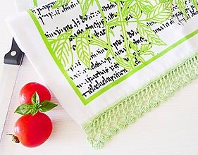 Úžitkový textil - Utierka s potlačou a háčkovanou krajkou - 9778446_