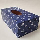 Krabičky - Zásobník na vreckovky v námorníckom štýle - 9778750_